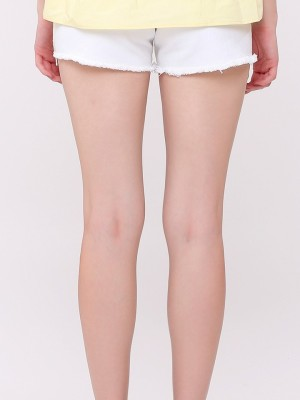 Pineapple Embroidery White Denim Shorts