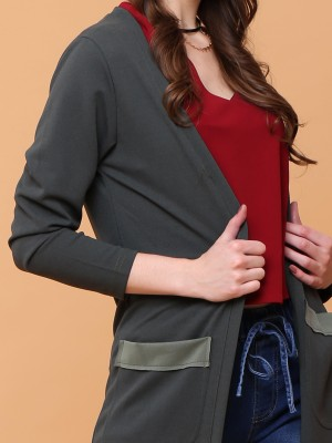 Long Sleeves Double Pockets Open Cardigan