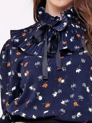 Floral High Neck Pleated Top