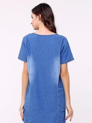 Side Pocket Denim Dress