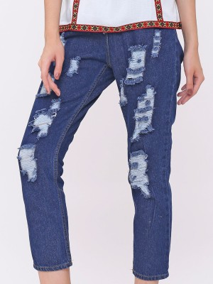 Waist Pull Ripped Jeans