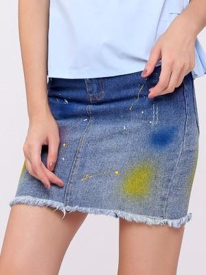 Splatered Paint Denim Short