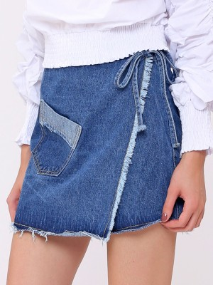 Unfinished Wrap Denim Skirt