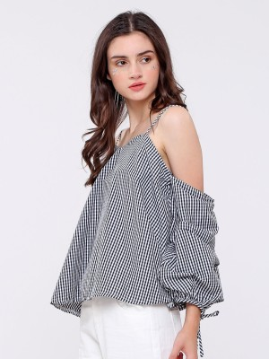 Cold Shoulder puffy sleeves top