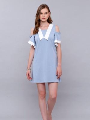 V Collar Shape Tee Dress