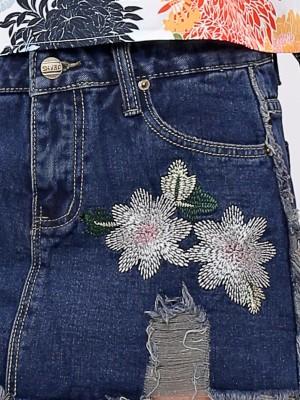 Flower Embroidery Denim Mini Skirt