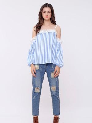 Off Shoulder Crochet Stripes Top
