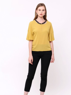 Flare Sleeves With Necklace Top