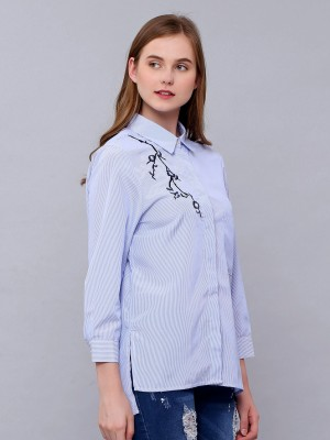 Flower Embroidery Stripes Long Sleeves Shirt