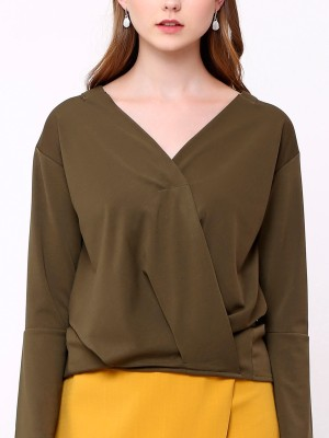 Wrap Front Bell Long Sleeves  Top