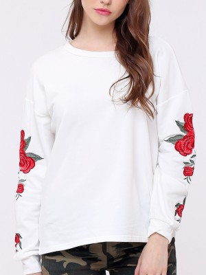 Long Flower Embroidery Sleeves Top