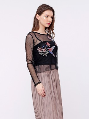 Bird Embroidery Long Sleeves Mesh Top