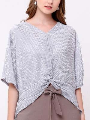 Pleated Front Knot Top