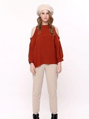 Peep-Shoulder Long Sleeves Top