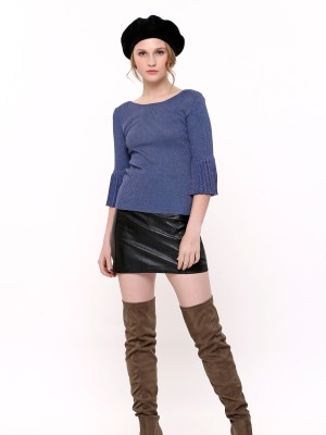 Pleated Flare Sleeves Metallic Top