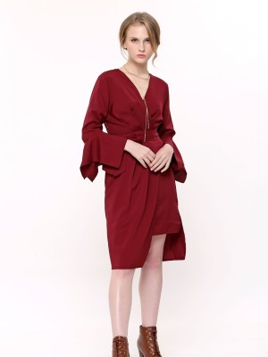 Flare Sleeves waist -Tie Wrap Dress