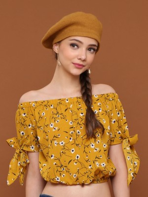 Flower Printed Tied-Sleeves Crop Sabrina Top