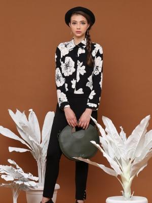 Monochrome Flower Printed Long Sleeves Shirt