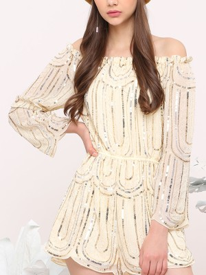 Sequines Off-Shoulder Romper