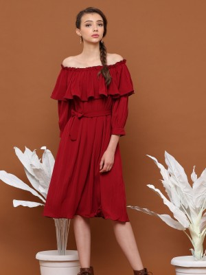 Layer Full Pleats Waist-Tie Midi Dress