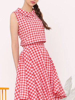 Two Piece Checkered Dress