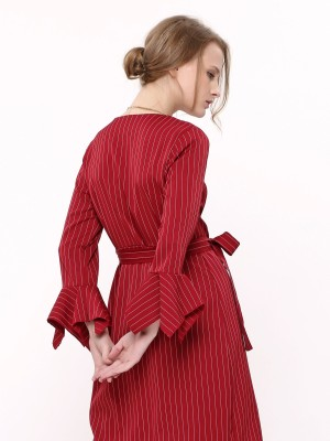 Ruffle Sleeves Stripes Dress