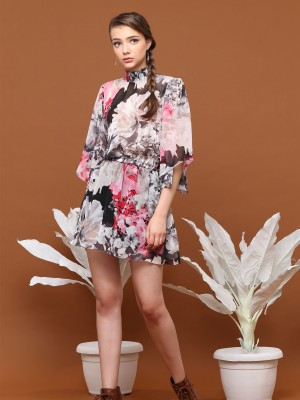 High Neck Flower Print Chiffon Dress