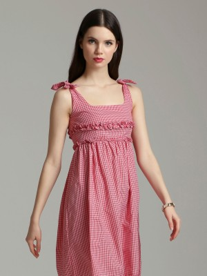 Checked Shoulder Tied Mini Dress
