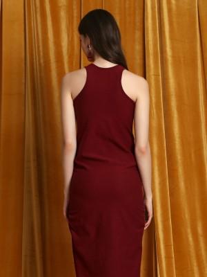 Side Runches Sleeveless Dress