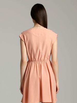 V Pleated Neckline Sleeveless Dress