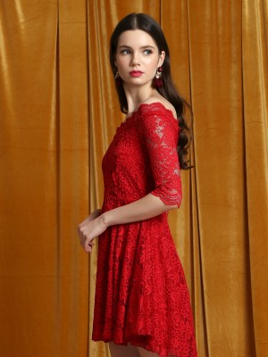 CNY Off Shoulder Red lace Dress