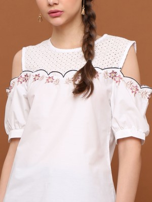 Flower Embroidery Drop Shoulder Top