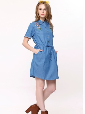 Flower Embroidery Chambray Dress