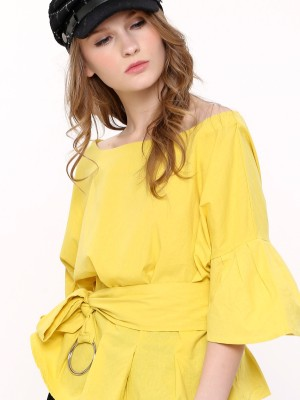 Wide Neck Belted Top