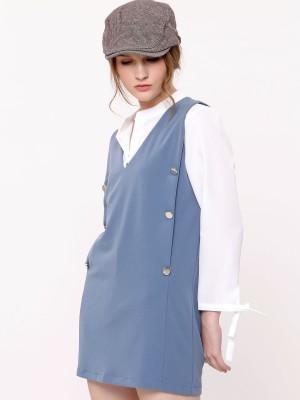 Buttons Sleeveless Mini Dress