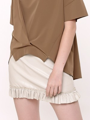 Bottom Ruffle Faux Leather Mini Skirt