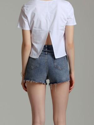 Unfinished Denim Shorts