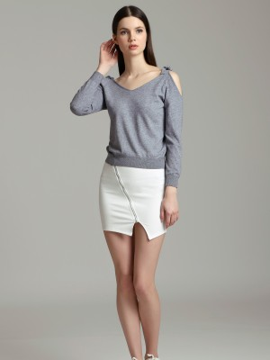 Diagonal Zipper Mini Skirt
