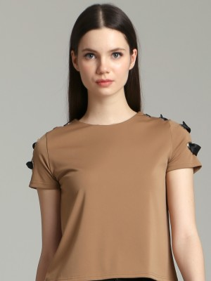 Crooss Tied Bow Shoulder Top