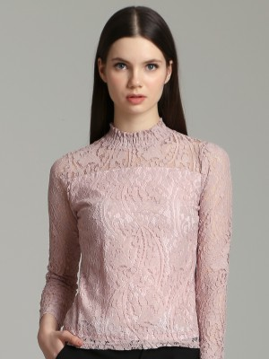 High Neck Laces Long Sleeves Top