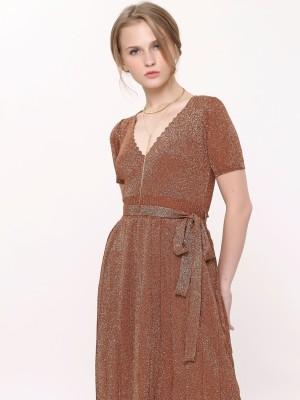 Front Wrap Waist Tie Metallic Pleated Dress