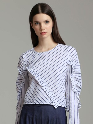 Diagonal Stripes Ruffle Long Sleeves Top