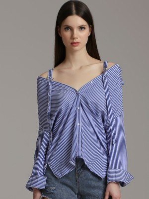 2 Way Wearable Long Sleeves Stripes Shirt