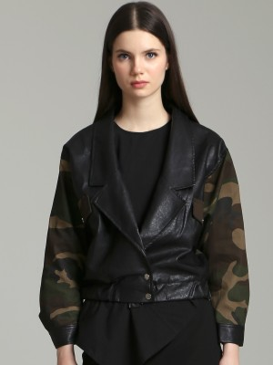 Low Buttons Army Faux Leather Jacket