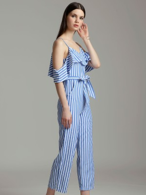 Upper Ruffle Waist Tie Stripes Cami Jumpsuit
