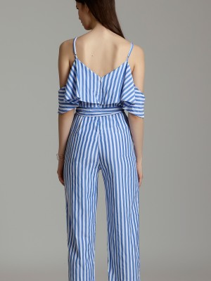 Upper Ruffle Waist Tie Stripes Cami Jumpsuit