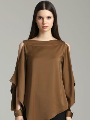 Asymetric Long Sleeves Silky Blouse