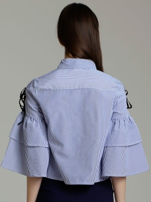 Bow Tie Ruffle Bell Sleeves Stripes Shirt