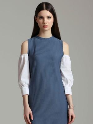 Long Sleeves Drop Shoulder Shift Dress