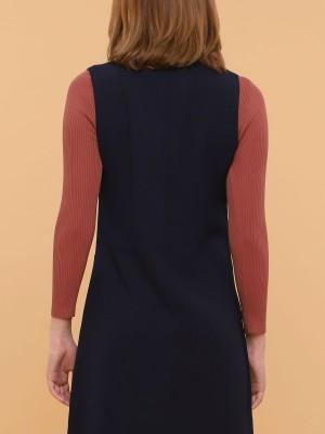 Low V Neck Dungaree Dress
